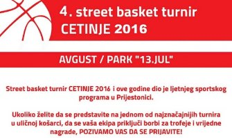 Street basket turnir od 26.do 28. avgusta na Cetinju